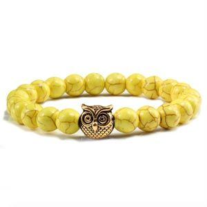 Jewelry - Owl Charm Natural Yellow Prayer Beaded Bracelet